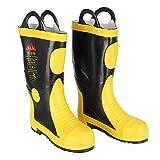 Tnfeeon Botas de Seguridad contra Incendios de Goma, Zapatos Impermeables Resistentes a Altas temperaturas Protección contra Incendios(42)