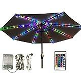 Guirlande lumineuse pour parasol, parasol avec télécommande et minuterie, 8 modes, 104 LED, décoration pour parapluie, tente de camping ou décoration de plein air