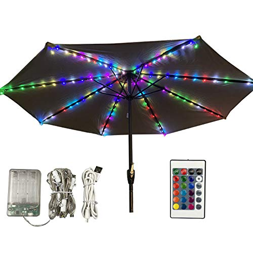 Lichterkette für Sonnenschirm,Sonnenschirm Lichter mit Fernbedienung und Timer, 4 Modi,112 LED Sonnenschirm Lichterkette Beleuchtung Deko für Regenschirme, Campingzelte oder Outdoor-Dekoration