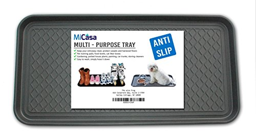 Multi-Purpose Anti-Slip Tray and Mat for Boots, Dog Food Bowls, Cat Litter, Painting, Shoes, Gardening, Laundry, Kitchen, Garage, Entryway. Protect Your Floor, Utility Tray. 30' x 15' x 1.2'