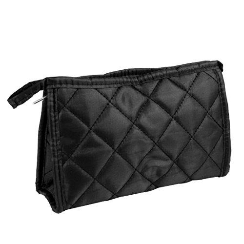sourcingmap Losange noir imprimé Zip Up rectangulaire cosmétique sac à main sac de maquillage