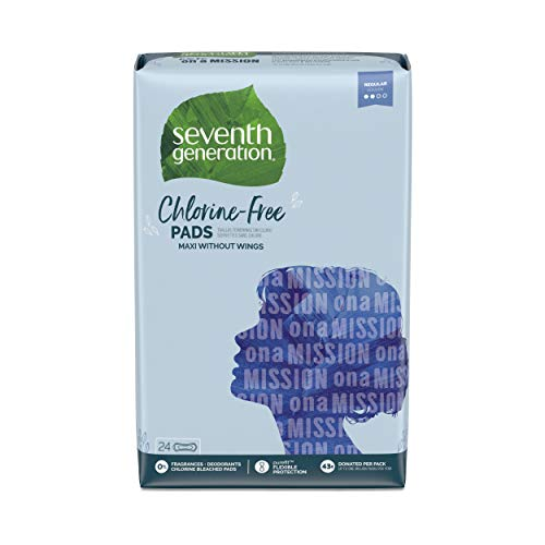 Seventh Generation Maxi Pads, Regular Absorbency, Chlorine Free, 24 count, 12 Pack (Packaging May...