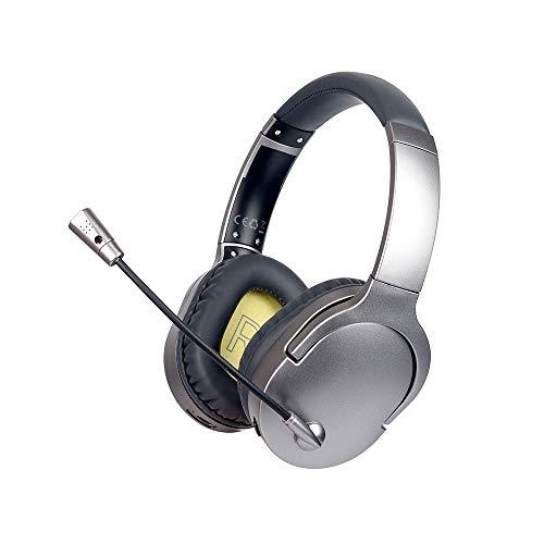Auriculares inalámbricos para videojuegos, auriculares estéreo Bluetooth con micrófono con cancelación de ruido y luz LED para teléfonos, ordenador portátil, ordenador, PC