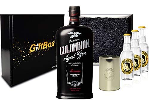 Gin Tonic Set Giftbox Geschenkset - Dictador Premium Colombian Aged Gin 0,7l 700ml (43% Vol) + 3x Thomas Henry Tonic Water 200ml inkl. Pfand MEHRWEG + Becher -[Enthält Sulfite]