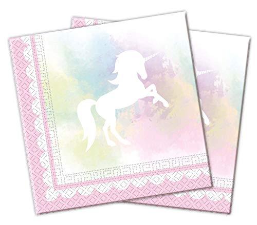 Procos Partyware 84861 89342 - Servietten Believe in Unicorn, 20 Stück, Größe 33 x 33 cm, Mundtuch, Kindergeburtstag, Partygeschirr, Tischdekoration