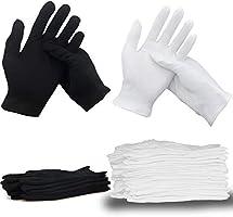 Cotton Gloves (20 Pcs White+6 Pcs Black ), White Cotton Gloves for Dry Hands, Moisturizing Eczema Lotion Gloves for...