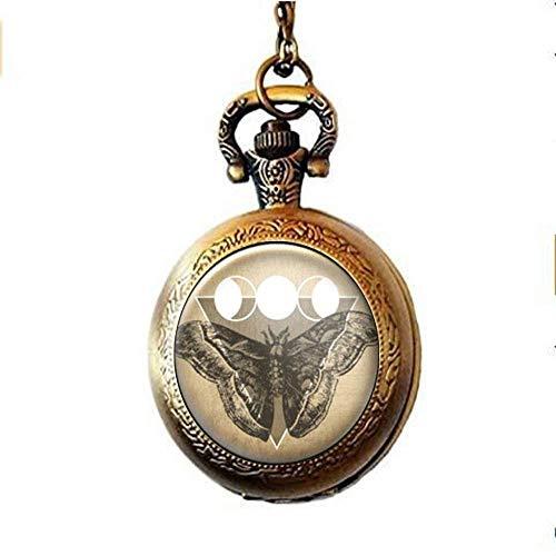 Motten-Taschenuhr-Halskette, dreifache Göttin, Mondphasen-Schmuck, Wicca-Geschenke, personalisierte Geschenke