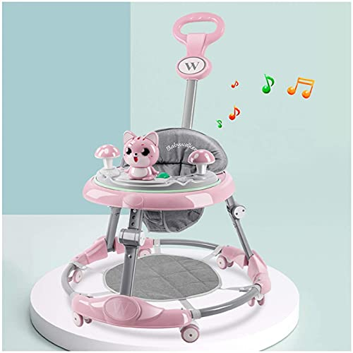 Cute Walkers with Music Light, 6 Mute Universal Wheels Height Adjustable Walker, Anti-Rollover Anti-O Leg Folding Walker Suitable for Girls Boys 6-18 Months (Color : H)