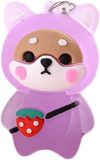 LUNCK Small Gifts Shiba Inu Cute Flash Ornaments Key Ring Pendant Shiba Keychain Key Ring(Purple)