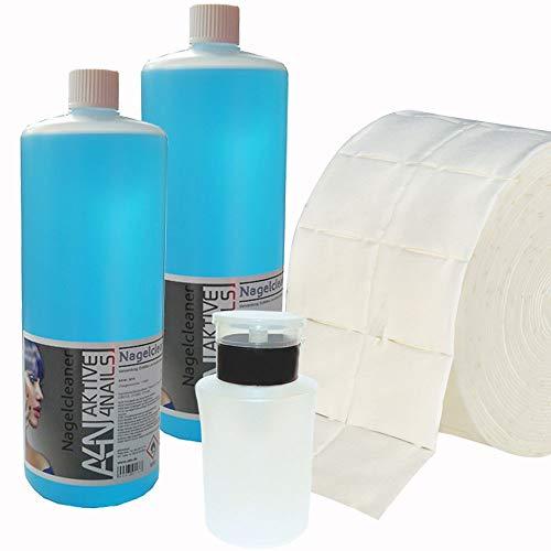 2 x Cleaner 1Liter + Pumpdispenser 160ml + Zellettenrolle mit 500 Stück für Gel Nägel zum entfetten und reinigen bei der Nagel-Modellage (2000ml) Nail Cleaner Blau für Gelnägel