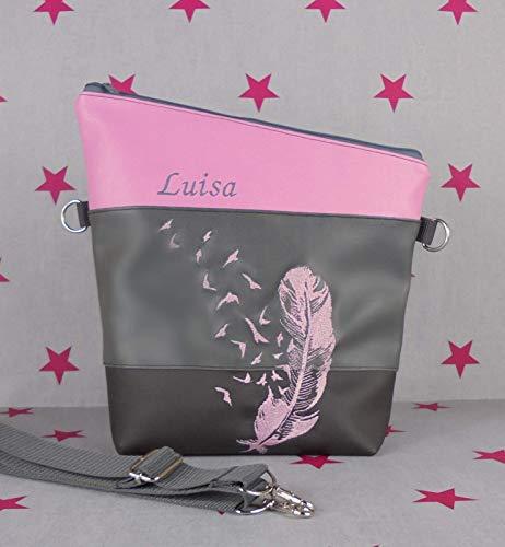 pinkeSterne ☆ Umhängetasche Handtasche Kunstleder Bestickt Handmade FoldOver Feder Rosa