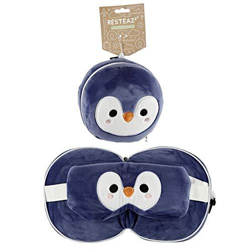 Puckator Resteazzz - Cuscino da viaggio rotondo con pinguino e maschera per gli occhi