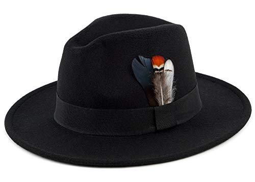 Fedora Hat Felt Panama Crushable Vintage Style with Black Band and Feather