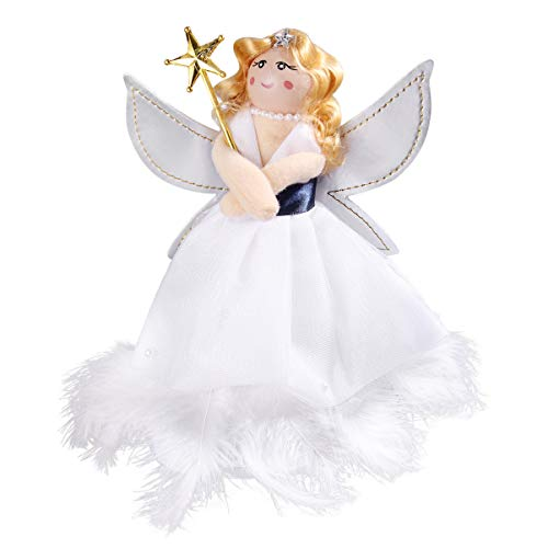 DOITOOL Christmas Angel Tree Topper Angel Treetop Figurine Xmas Tree Hanging Decorations for Christmas Holiday Party Home Decor