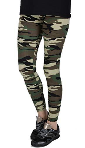 Iwea Damen Camo Leggings Lang Stretch Pants Camouflage Print, Grün, S/M