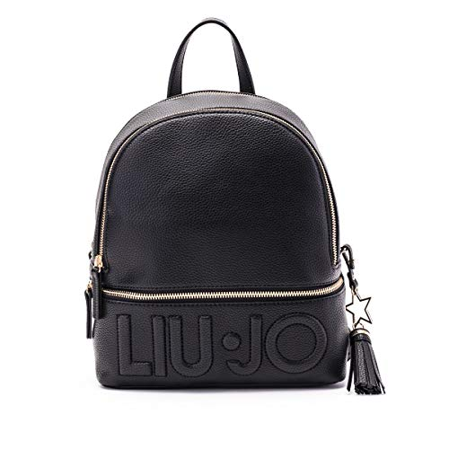 Zaino Liu-Jo backpack M in ecopelle nero con logo donna B21LJ23