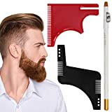 Beard Shaping Tool, Beard Shaping Comb Black & Red Beard Shaper Kit - Beard Stencil Guide Template with Barber Pencil to Style Your Beard & Facial Hair 3 Pack