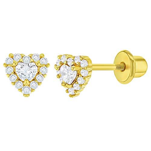 In Season Jewelry - Baby - Herz Ohrringe - 18k Vergoldet - Zirkonia - Schraubverschluss Ohrringe - 5mm