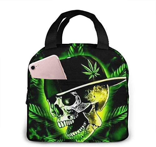 Reggae Rasta Marijuana Weed Skull Lunch Bag Cooler Bag Mujer Tote Bag Aislante Lonchera Térmica Resistente al agua Bolsa de almuerzo Bolsas de almuerzo de forro suave para mujeres / Picnic /