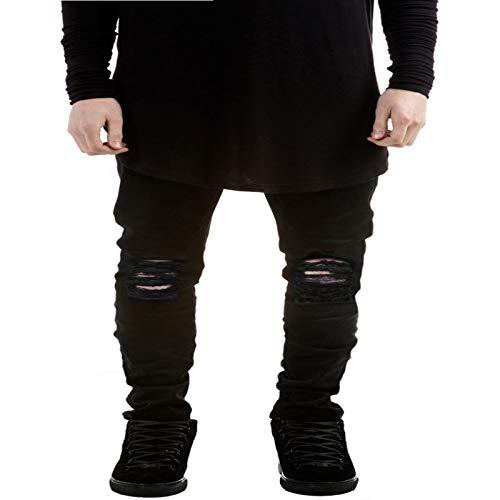 Pantalones Vaqueros Ajustados elsticos para Hombre, Pantalones de Mezclilla Lavados Desgastados de Calle Alta con Personalidad de Tendencia con Agujeros Rasgados de Color slido a la Moda 42