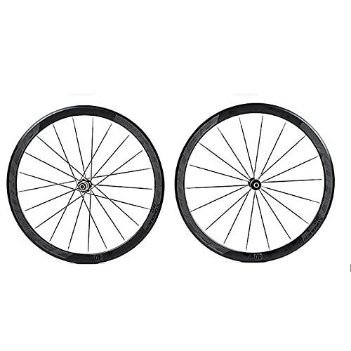 DSMGLSBB Ruedas De Ciclismo 8-11S 4 Rodamiento Palin 40 Borde De Cuchillo 700C del Camino Rueda De Bicicleta, Aleación De Aluminio Freno De Disco Borde De Doble Pared 40 Mm,Gris