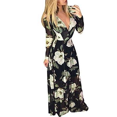 Sufeng Women Floral Print Long Sleeve High Waist V-Neck Zipper Long Dress Maxi Dresses