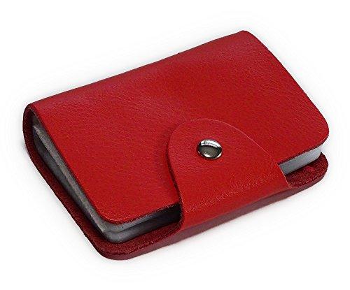 京都 おかげさまで 本革 シンプル レザー カードケース 26枚収納 レディース メンズ 12色 (サーモンピンク)