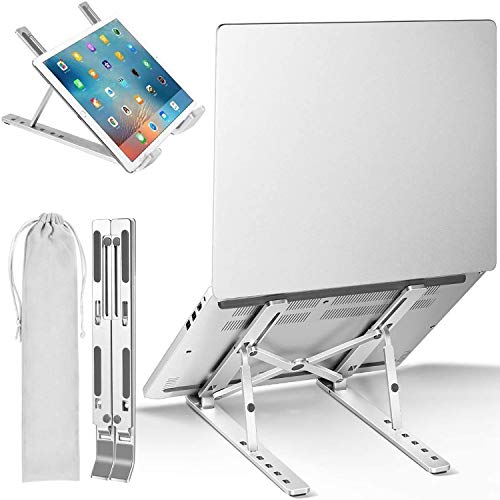 Laptop Stand Portable, Notebook Holder Adjustable Foldable Ventilated Desk Tablet Aluminum Compatible for New Apple MacBook Pro Air and Asus Samsung HP Dell Acer 10 to 15.6 inch