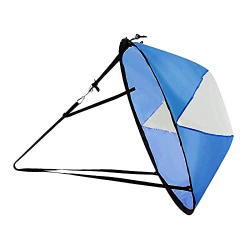 Sharplace Kit de Vela de Viento a contracorriente de 42 Pulgadas Plegable para Kayak, Accesorios de Tabla de Paddle Sup, fácil configuración y se despliega de - Azul Blanco