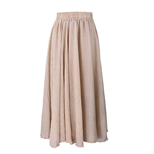 Evedaily Damen Rock Maxirock Sommerrock Langer Rock Baumwolle Leinen elastische Taillenbund One Size