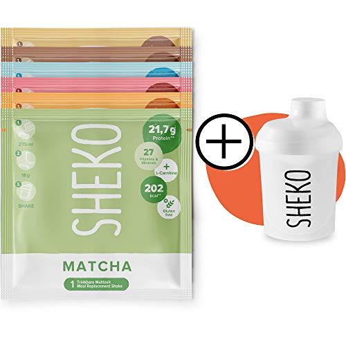 SHEKO Probierpaket (6 Sachets) mit Shaker | Protein Pulver Probierpaket zum Abnehmen | Auch als Proteinshake oder als Mahlzeitersatz Shake