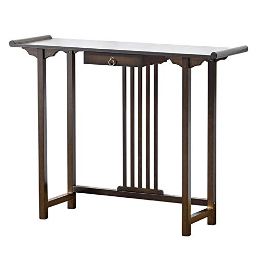 YaGFeng Console Table New Chinese Porch Table Solid Wood Hotel Club End View Table Simple Long Table Suitable for Bedroom Balcony (Color : Black, Size : 100x31.5x80cm)