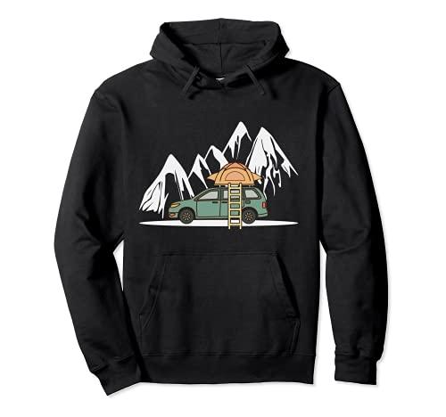 Mini Camper mit Dachzelt in den Bergen - Camping Auto Pullover Hoodie