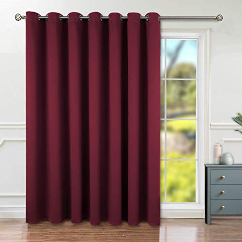 BGment Privacy Blackout Curtains for Sliding Glass Door, Grommet Thermal Insulated Darkening Room Divider Curtain for Living Room, 1 Panel (8.3ft Wide x 7ft Tall, Burgundy)