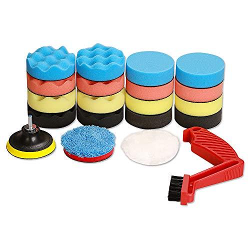 SPTA Drill Polishing Pads Kit,21pcs 3inch (80mm) Car Foam Polishing Buffing Pads,Wool Pads,Multifunctional Cleaning Brush,Backing Plate,for Car Polisher Polishing,Buffing and Cutting