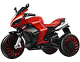 ZHBD Kids Ride on Moto, Batterie 12V Powered 3 Roues Jouet Moto pour Enfants Garçons Et Filles, Balade Électrique sur La Moto avec La Queue De Pulvérisation,Rouge