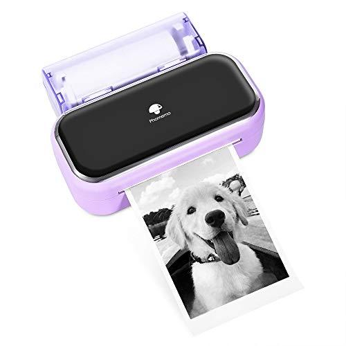 Phomemo M03 Portable Printer-Purple Bluetooth Portable Printer Photo Printer Printer Wireless Portable Mobile Printer Thermal Printer Compatible with iOS + Android for Photos, Journalist, Work, Plan
