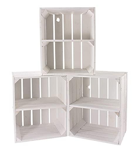 Kontorei - Caja para fruta (también ideal para zapatos y CD, apilable, madera natural, color blanco