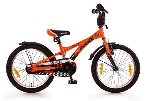 BRONX BRONX Race 12' - Bicicletta da bambino con mozzo freno a pedale, 18 pollici, arancione