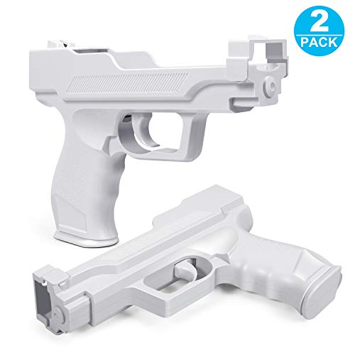 Motion Plus Gun Compatible with Nintendo Wii Controller + Wii Shooting Games (White,Set of 2)