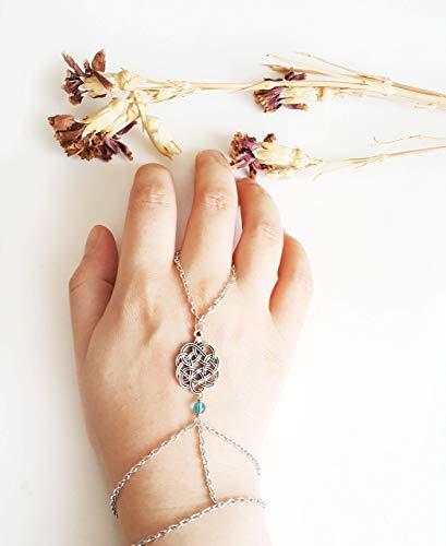 Celtic hand chain - Blue quartz bracelet Slave bracelet Celtic wedding