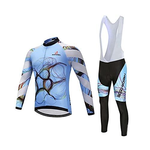 Ciclismo Maillot Hombres Jersey + Pantalones Largos Culote Mangas Largas de Ciclismo Conjunto de Ropa Maillot Entretiempo para Deportes al Aire Libre Ciclo Bicicleta