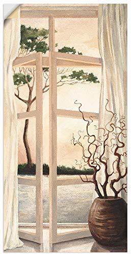 Artland Wandbild selbstklebend Vinylfolie 75x150 cm Fensterblick Fenster Toskana Landschaft Fensterbild Sonnenuntergang T4OM