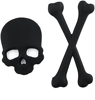 Daphot Store New 3D 3M Skull Metal Skeleton Crossbones Car Motorcycle Sticker Label Skull Emblem Badge Car Styling Stickers Decal (Black)