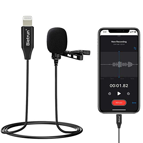 Mini Recording Microphone for iPhone Lighting, Professional Omnidirectional Metal Wired Lapel Lavalier Mic, 119 inch Noise Shielded Cable, for YouTube, Zoom, Facebook, Tiktok, Video Recording, Live