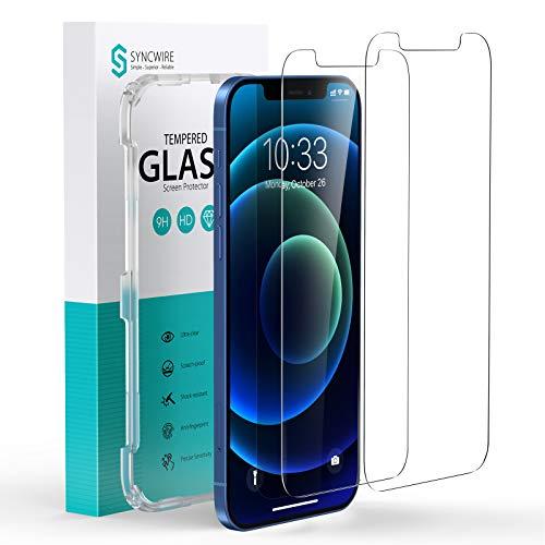 Syncwire Panzerglas Kompatibel mit iPhone 12 Mini – [2 Stück] Schutzfolie aus Hartglas (9H, HD, Kratzfest, Blasenfrei, Anti-Fingerprint, Positionierhilfe) - 5.4 Zoll