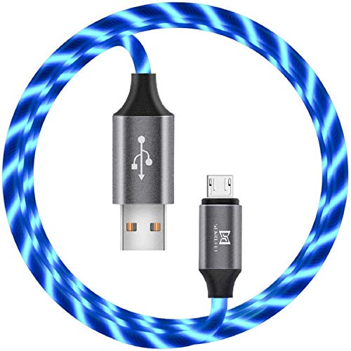 of usb charge cable for android car chargers Micro USB Android Charger Cable - 6FT LED Light Up Visible Flowing USB-A to Micro Sync and Fast Charger Charging Cord,for Android Phone Charger Cable Tablets Wall and Car Charger(Blue, 6FT)