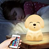 Dog Night Light For Kids,Toddler,Color Changing Nursery Baby Nightlight,Cute Puppy animal table Lamp,Teen Girls Boys Childrend Graduation Gifts tap Fidget Toys,Bedroom Stuff Lights With Remote Control