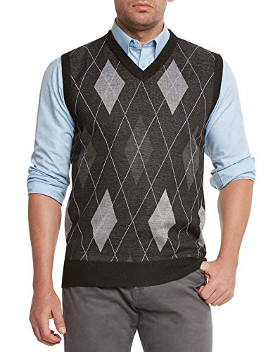 True Rock Men's Argyle V-Neck Sweater Vest (Black/Gray, Large)