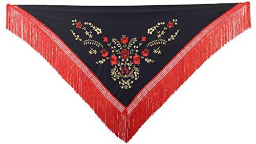 La Señorita Mantones bordados Flamenco Manton de Manila negro rojo oro flecos rojo